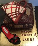Sweet 16 cake  in a shape of the  Bags and a shoe